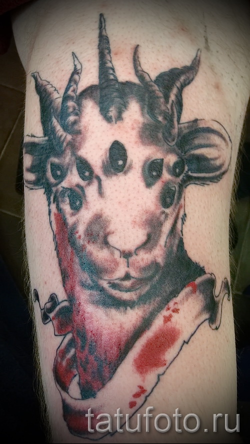 Тату козел - фото готовой татуировки от 10012016 34