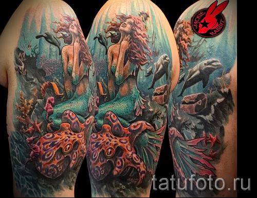 Тату русалка - фото готовой татуировки от 10012016 11