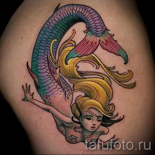 Тату русалка - фото готовой татуировки от 10012016 27