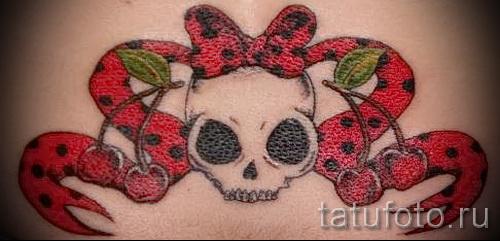 тату вишня и череп - примеры татуировки на фото от 30012016 2