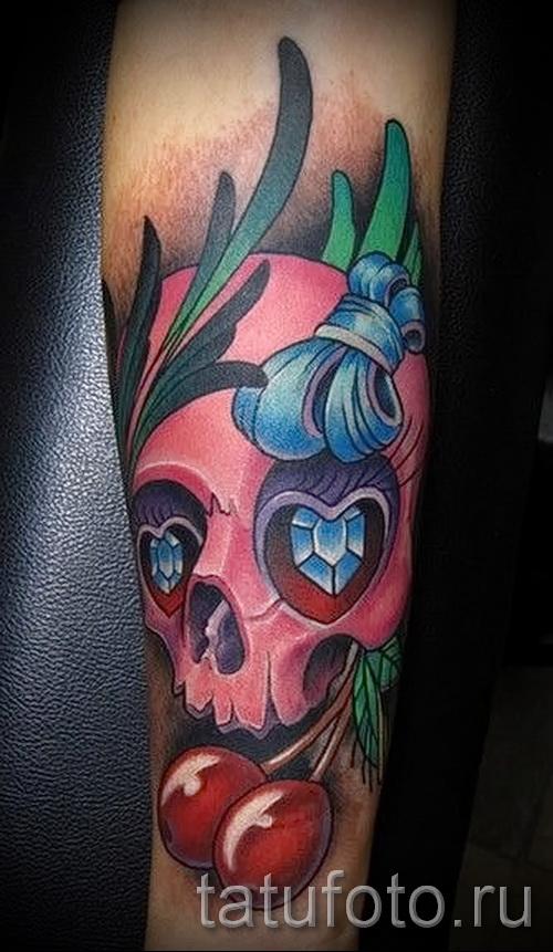 тату вишня и череп - примеры татуировки на фото от 30012016 8
