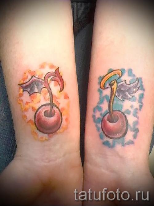 тату вишня на запястье - примеры татуировки на фото от 30012016 9