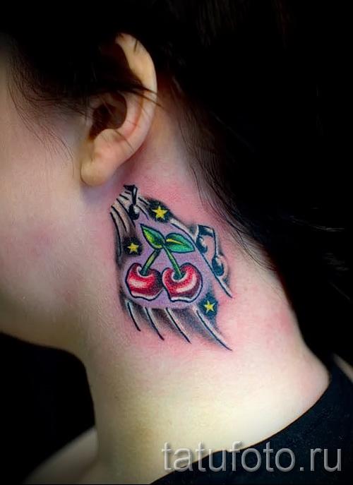тату вишня на шее - примеры татуировки на фото от 30012016 2
