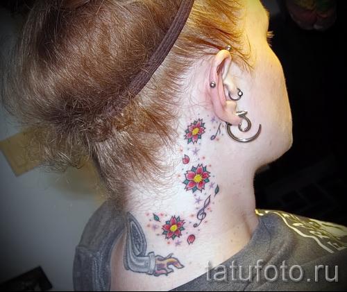 тату вишня на шее - примеры татуировки на фото от 30012016 4