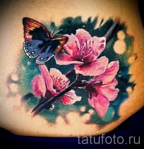тату вишня с цветком - примеры татуировки на фото от 30012016 1