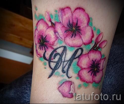 тату вишня с цветком - примеры татуировки на фото от 30012016 3