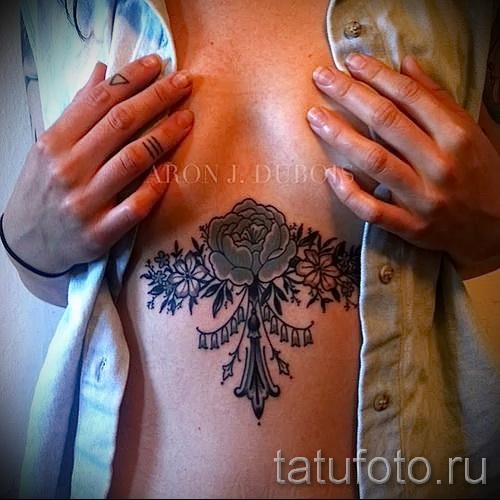 татуировка под грудиной у девушек фото