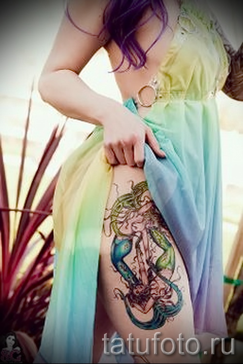 Тату русалка - фото готовой татуировки от 10012016 9