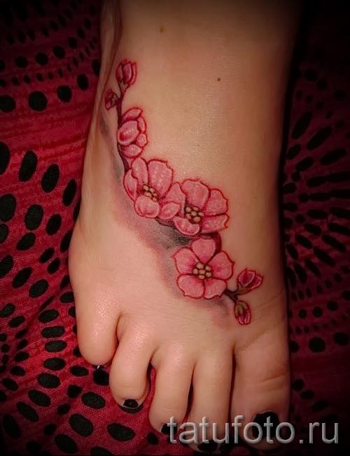 тату вишня на ноге - примеры татуировки на фото от 30012016 4