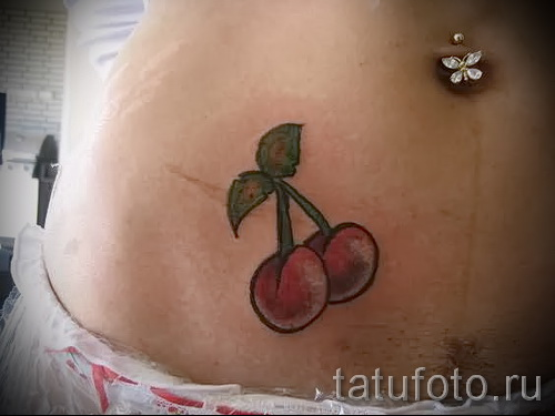Cherry tattoo on his stomach - examples of tattoos on the photos from 30012016 2