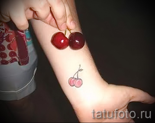 Cherry tattoo on the wrist 2