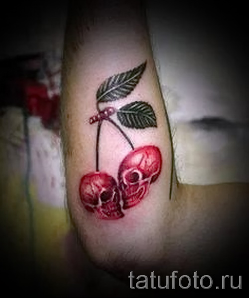 cherry and skull tattoos - tattoos on photo examples from 30012016 3