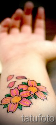 cherry with a flower tattoo – tattoo on photo examples from 30012016 2