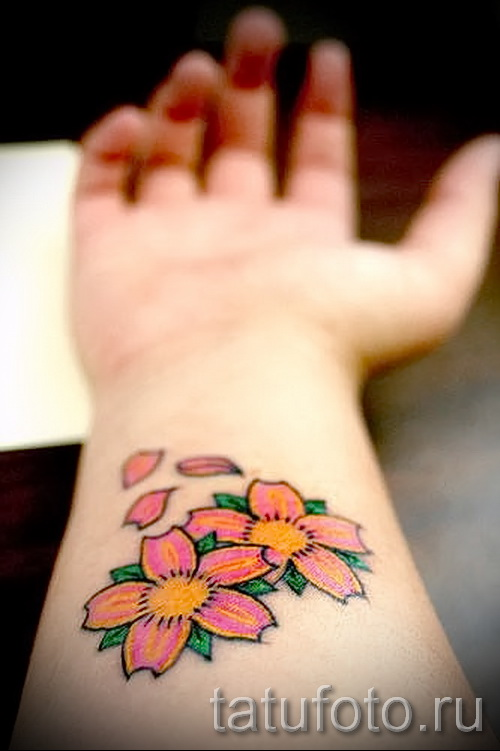 cherry with a flower tattoo - tattoo on photo examples from 30012016 2