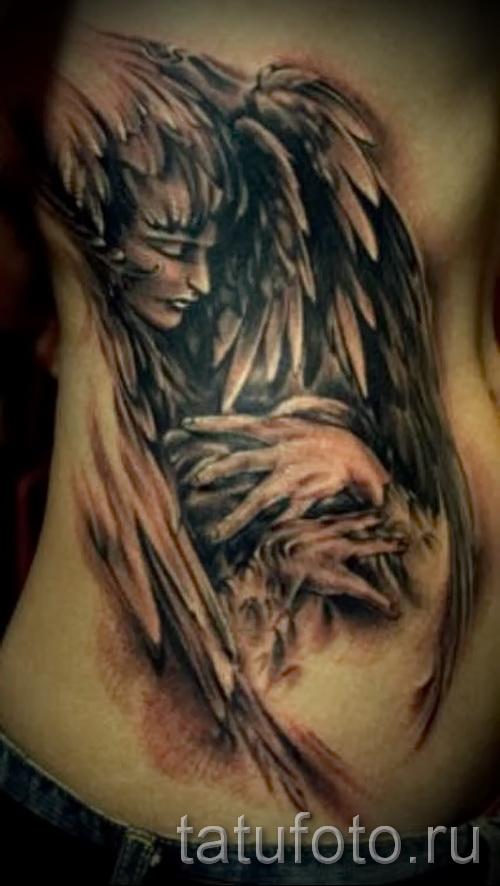 крылья на ребрах тату - фотография с примером татуировки от 03022016 5