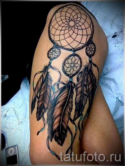 ловец снов тату на бедре - примеры готовых тату в фотографиях 01022016 2