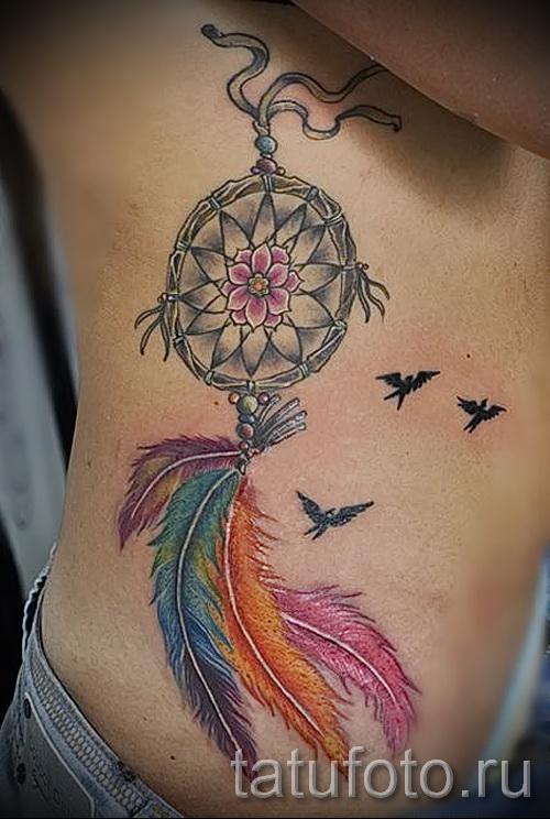 ловец снов тату на ребрах - фотография с примером татуировки от 03022016 2