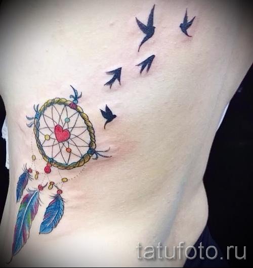 ловец снов тату на ребрах - фотография с примером татуировки от 03022016 9