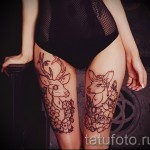 татуировка на бедре олень 1