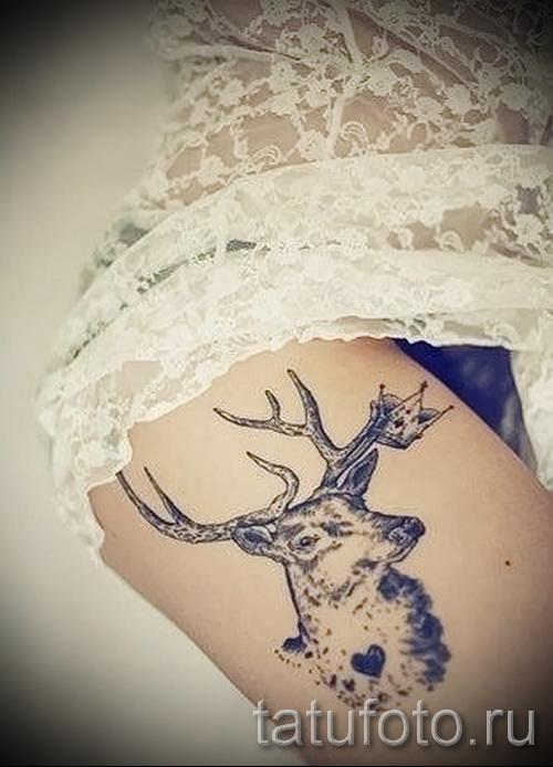 татуировка на бедре олень 3