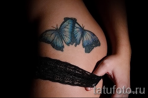 тату бабочка на бедре 1