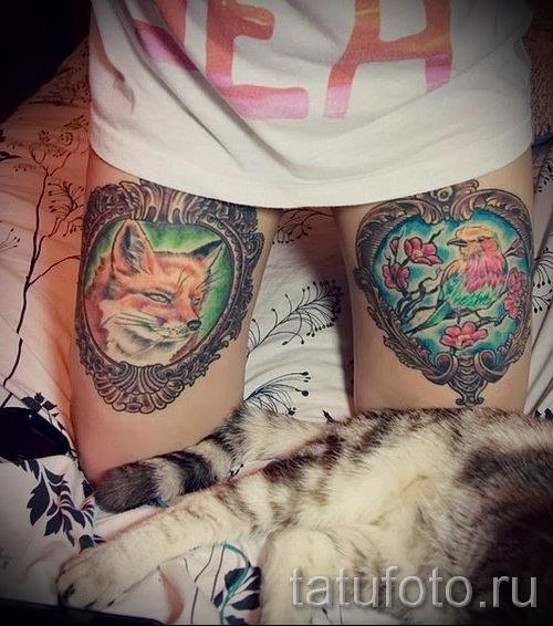 тату лиса на бедре - примеры готовых тату в фотографиях 01022016 2