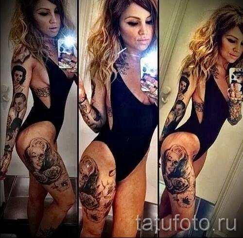 тату на бедре для девушек фото - примеры готовых тату в фотографиях 01022016 5