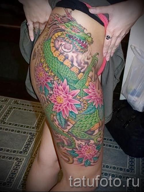 тату на бедре дракон - примеры готовых тату в фотографиях 01022016 - 018
