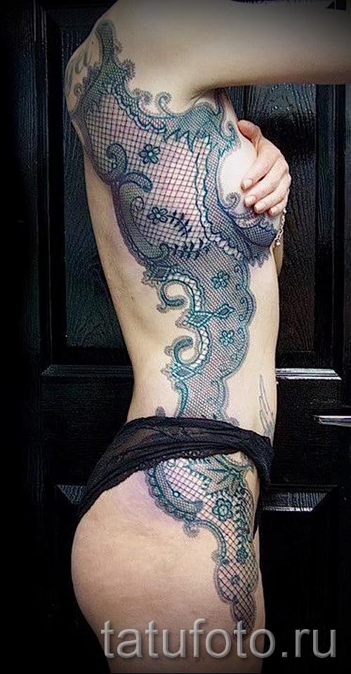 тату на ребрах кружево - фотография с примером татуировки от 03022016 3