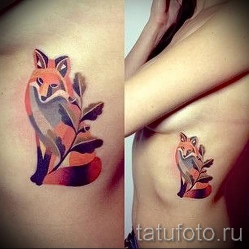 тату на ребрах лиса - фотография с примером татуировки от 03022016 1