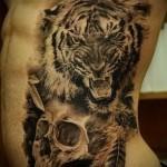 тату на ребрах тигр - фотография с примером татуировки от 03022016 1