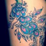 тату павлин на бедре - примеры готовых тату в фотографиях 01022016 1