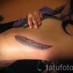 тату перо на ребрах - фотография с примером татуировки от 03022016 15