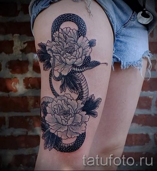 тату пионы на бедре - примеры готовых тату в фотографиях 01022016 9