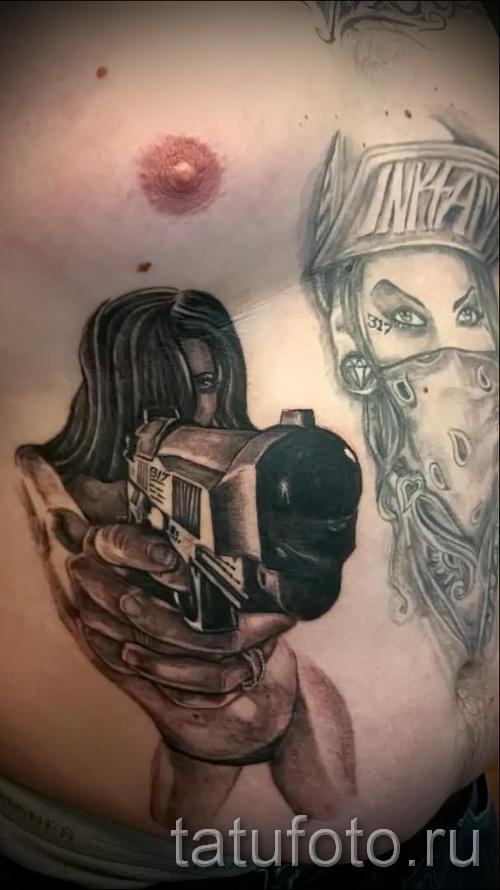 тату пистолет на ребрах - фотография с примером татуировки от 03022016 3
