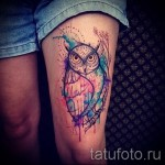 тату совы на бедре - примеры готовых тату в фотографиях 01022016 1
