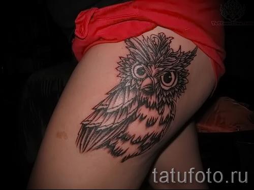 тату совы на бедре - примеры готовых тату в фотографиях 01022016 7