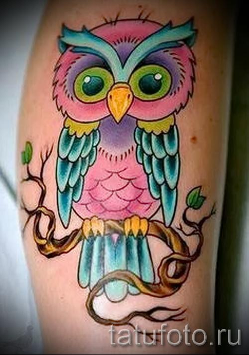 тату совы на бедре - примеры готовых тату в фотографиях 01022016 8
