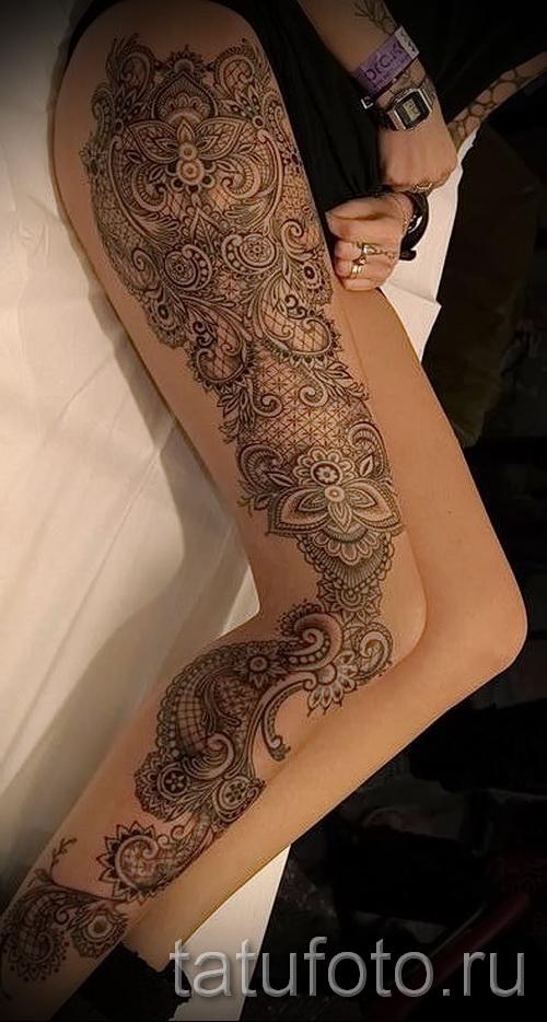 тату узор на бедре - примеры готовых тату в фотографиях 01022016 5