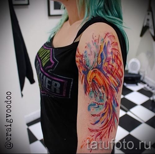 тату феникс акварель - фото готовой татуировки от 11022016 9