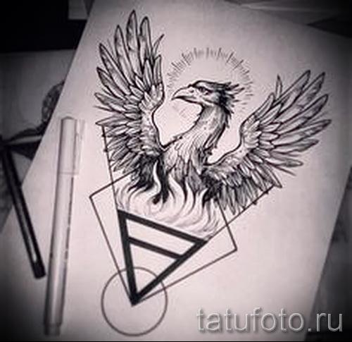 тату феникс геометрия - фото готовой татуировки от 11022016 2