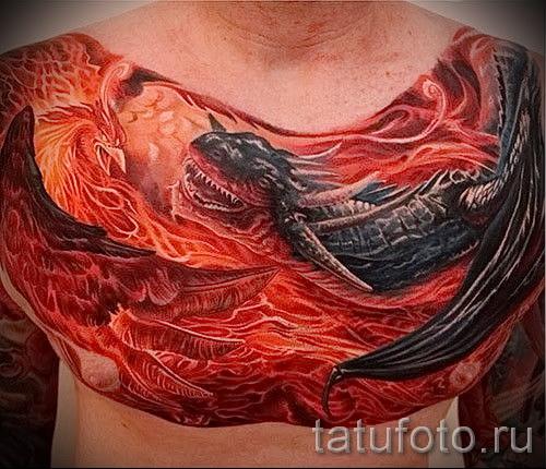 тату феникс на груди - фото готовой татуировки от 11022016 10