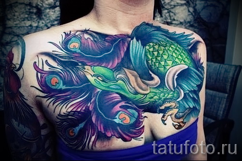 тату феникс на груди - фото готовой татуировки от 11022016 11