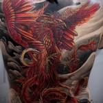 тату феникс на спине - фото готовой татуировки от 11022016 8