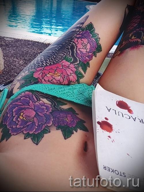 тату цветы на бедре - примеры готовых тату в фотографиях 01022016 - 013
