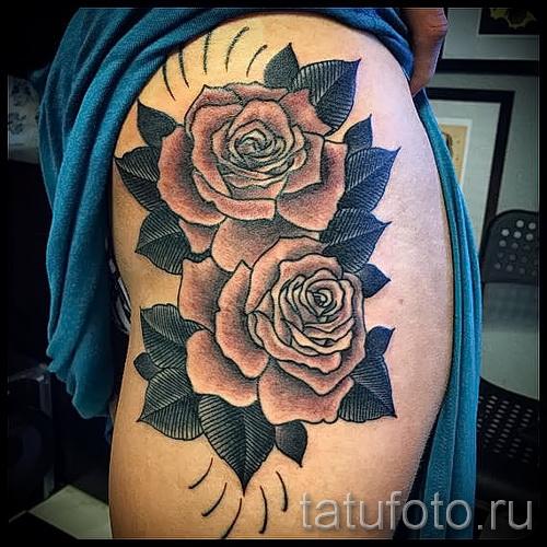 тату цветы на бедре - примеры готовых тату в фотографиях 01022016 - 017