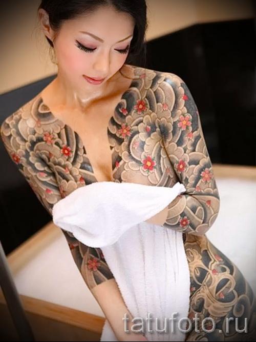 тату японских девушек на бедре - примеры готовых тату в фотографиях 01022016 6