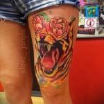 тигр на бедре тату 2