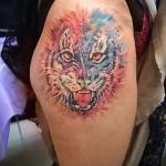 тигр на бедре тату 3
