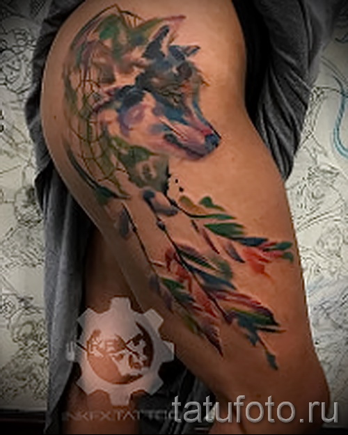 ловец снов тату на бедре - примеры готовых тату в фотографиях 01022016 5